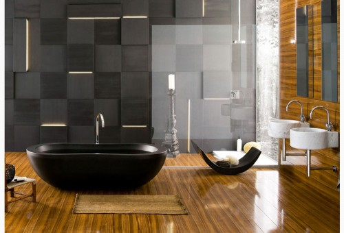 Amazing Wall Black Stone Bathroom Design ideas