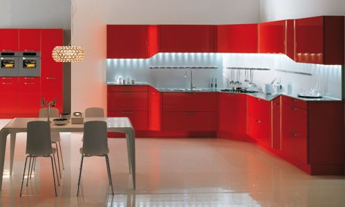 Beauty Red Kitchens Designs Concept
