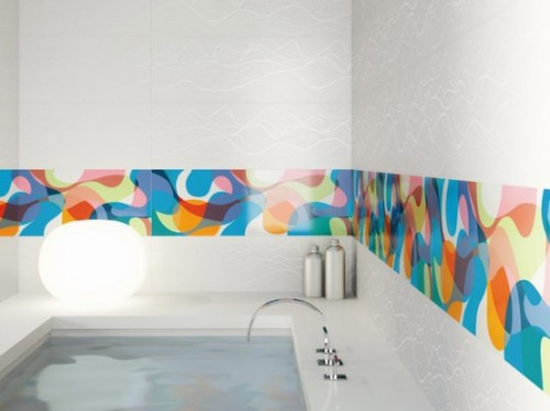 Colorful Striped Bathroom Wall Ceramics
