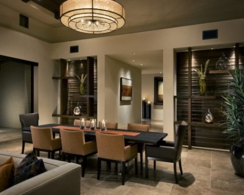 Contemporary Dining Room Design with Lighting