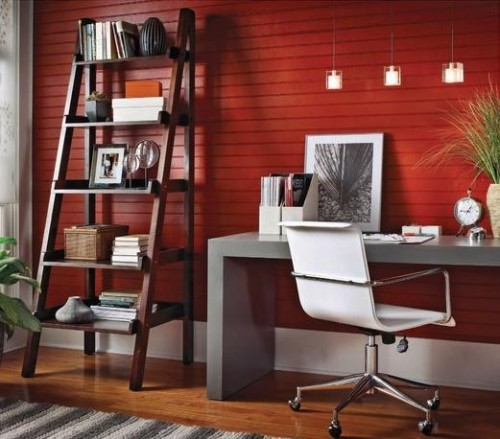 Elegant Red Home Office Lighting Concept