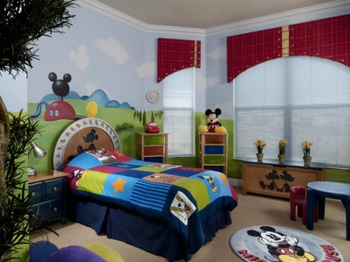 Mickey Mouse Children Bedroom with Wallpaper
