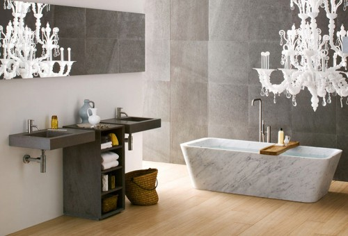 Modern Bathroom Design with Amazing wall stone