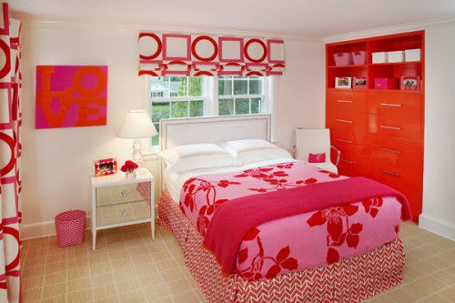 Modern Red Teen Bedroom Art