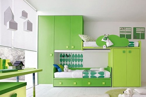 Natural Twins Children Bedroom Designs Concept