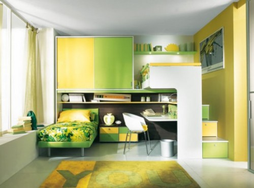 Beauty Child Room with Natural Green Designs Concept