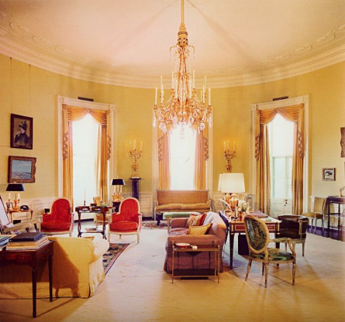 Classic Home with Yellow Brown Family Room