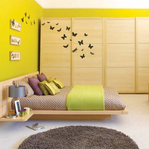 Great Bedroom Desigsn with Butterfly Wallpaper Wall