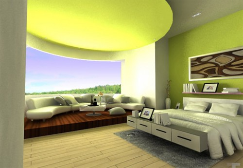 New Interior with Green Bedroom Designs Concept Wallpaper