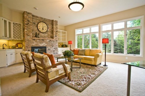 New Yellow Brown Family Room Design Concept in 2012