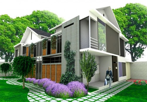 Nice Modern Home with Lavender Plant
