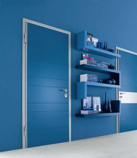 Simple Door Design with Blue Color Concept