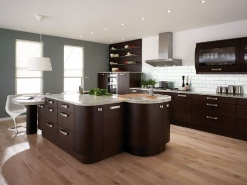 Small Kitchen with Wooden Flooring Ideas